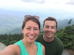 With my husband at the top of Grandfather Mountain, NC